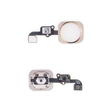 Obvod tlačítka Home Button + kovový rámeček + tlačítko Home Button pro Apple iPhone 6 / 6 Plus - bílo-zlaté - kvalita A+
