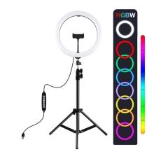 LED světlo PULUZ (Ring light) 26cm - kruhové - dálkové ovládání + stativ 120 cm - RGB barevné - 360° otočné