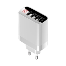 EU napájecí adaptér / nabíječka BASEUS Mirror Lake s 4x USB porty (6A) - LCD displej - bílý