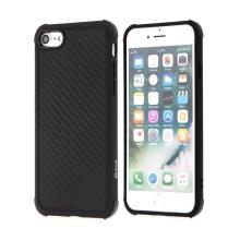 Kryt pro Apple iPhone 7 / 8 - karbonová textura - zesílené rohy - gumový - černý