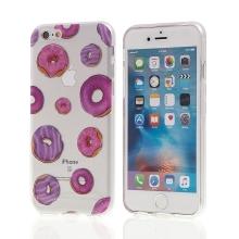 Kryt pro Apple iPhone 6 / 6S gumový - průhledný - fialovo-růžové donuty