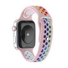 Řemínek pro Apple Watch 44mm Series 4 / 5 / 6 / SE / 42mm 1 / 2 / 3 - silikonový - duhový / růžový