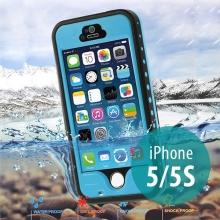 Voděodolné plastové pouzdro Redpepper pro Apple iPhone 5 / 5S / SE s podporou funkce Touch ID + poutko na ruku - modré