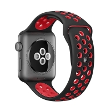 Řemínek pro Apple Watch 44mm Series 4 / 5 / 42mm 1 2 3 - silikonový - černý / červený - (M/L)