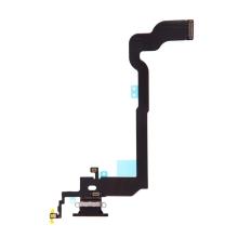 Napájecí a datový konektor s flex kabelem + GSM anténa + mikrofony pro Apple iPhone X - černý - kvalita A+