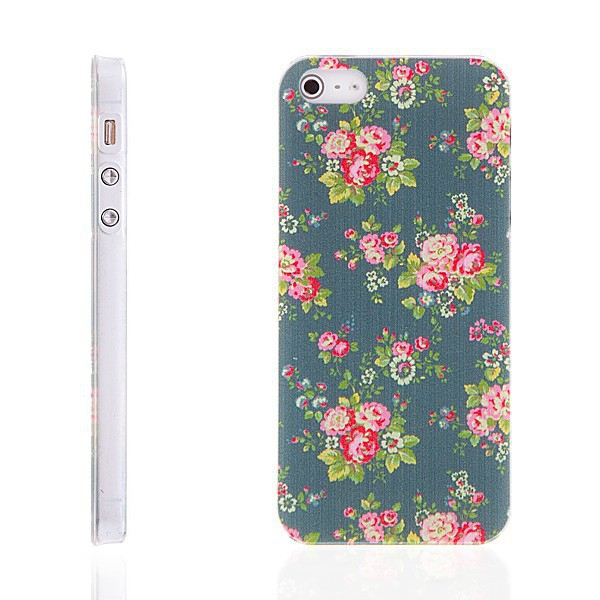 Plastový kryt pro Apple iPhone 5 / 5S / SE - růže - šedý