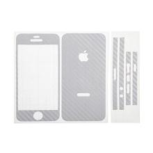 Ochranná dekorační celoobvodová vrstva pro Apple iPhone 5 - karbon - stříbrná