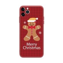Kryt pro Apple iPhone 12 Pro Max - vánoční - gumový - červený / perníkový panáček
