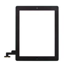Přední dotykové sklo (touch screen) pro Apple iPad 2.gen. - osazený díl - Home Button + konzole na foto - černé - kvalita A+
