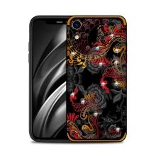 Kryt NXE pro Apple iPhone Xr - květinový motiv s kamínky - červený