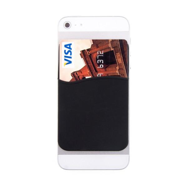Nalepovací silikonové pouzdro pro umístění platební karty na zadní část Apple iPhone 4 / 4S / 5 / 5C / 5S / SE - černé