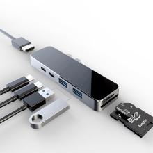 Dokovací stanice / port replikátor pro Apple MacBook Pro - 2x USB-C na 2x USB-C + 2x USB-A + SD + HDMI - šedá