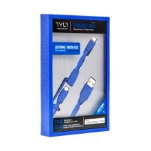 Synchronizažní a nabíjecí kabel TYLT 2v1 - Lightning MFi + Micro USB - 60cm