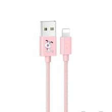 Synchronizační a nabíjecí kabel Lightning USAMS pro Apple iPhone / iPad / iPod - motiv pejska - růžový