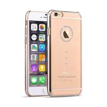 Kryt DEVIA pro Apple iPhone 6 / 6S - plastový / zlatý rámeček a kamínky Swarovski - průhledný
