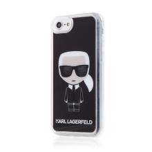 Kryt KARL LAGERFELD pro Apple iPhone 7 / 8 / SE (2020) - hlava Karla - pohyblivé třpytky - plastový - černý