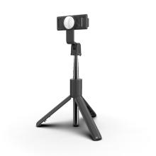 Selfie tyč / monopod + stativ - K10 teleskopická + bluetooth dálkové ovládání / spoušť + zrcátko - černá