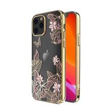 Kryt KINGXBAR pro Apple iPhone 12 / 12 Pro - s kamínky - plastový - motýli - zlatý / růžový