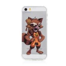 Kryt MARVEL pro Apple iPhone 5 / 5S / SE - Strážci Galaxie - Rocket a Groot - gumový - průhledný