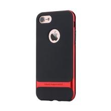 Kryt ROCK Royce pro Apple iPhone 7 / 8 gumový / červený plastový rámeček - černý