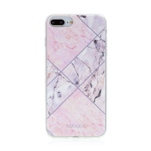 Kryt BABACO pro Apple iPhone 7 Plus / 8 Plus - gumový - růžový mramor