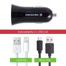 2v1 nabíjecí sada SWISSTEN pro Apple zařízení - MFi certifikovaný Lightning kabel (bulk) + Micro USB kabel - 2x USB 2,4A - černá
