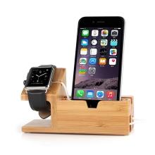 Stojánek pro Apple iPhone / iPod / Watch s USB HUB (3x USB port) - nabíjecí dřevěný