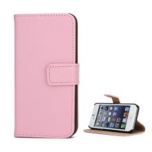 Pouzdro pro Apple iPhone 5 / 5S / SE - stojánek + prostor pro platební karty - kožené - růžové
