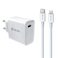 2v1 nabíjecí sada DEVIA pro Apple zařízení - EU adaptér (18W) a kabel USB-C -  Lightning - bílá