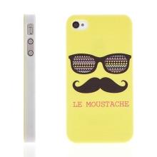 Plastový kryt pro Apple iPhone 4 / 4S - LE MOUSTACHE - knír - zelený