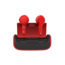 Sluchátka Bluetooth bezdrátová TWS QUOA - dobíjecí pouzdro - červená