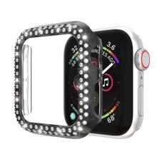 Kryt / pozdro pro Apple Watch 44mm Series 4 / 5 - s kamínky - plastový - černý