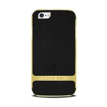Kryt LOVE MEI pro Apple iPhone 6 / 6S - s kamínky - kovový / gumový - černý / zlatý