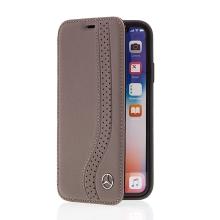 Pouzdro MERCEDES-BENZ pro Apple iPhone X - kožené - hnědé / černé