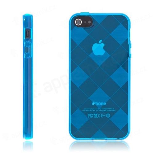 Ochranný gumový kryt pro Apple iPhone 5   5S   SE - modrý se vzorem  kosočtverců  8d7ad290971