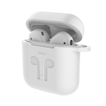 Pouzdro / obal ROCK pro Apple AirPods - silikonové + šňůrka k AirPods - bílé