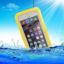Voděodolné plasto-silikonové pouzdro pro Apple iPhone 6 / 6S / 7 - žluté / průhledné