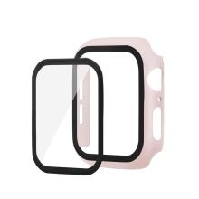 Tvrzené sklo + matný rámeček pro Apple Watch 44mm Series 4 / 5 / 6 / SE - Rose Gold růžový