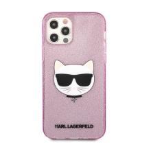 Kryt KARL LAGERFELD Choupette pro Apple iPhone 12 / 12 Pro se třpytkami - gumový - růžový