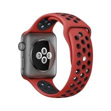 Řemínek pro Apple Watch 44mm Series 4 / 5 / 6 / SE / 42mm 1 / 2 / 3 - silikonový - červený / černý - (M/L)