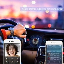 FM transmitter / vysílač + autonabíječka USB (3,1A) + Bluetooth handsfree - AUX 3,5mm jack vstup - bílá nabíječka / černý vysíla