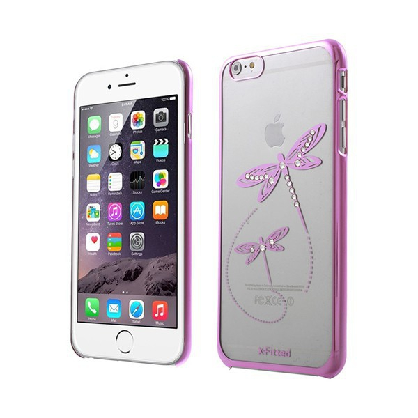 Plastový kryt X-FITTED pro Apple iPhone 6 Plus / 6S Plus - průhledný + růžový rámeček - vážky zdobené kamínky Swarovski