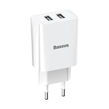 Nabíječka / EU napájecí adaptér BASEUS - 2x USB - 10,5W - bílý