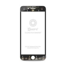 Tvrzené sklo (Tempered Glass) pro Apple iPhone 7 - na přední část - s kamínky Swarowski - ornamenty - černé - 0,3mm