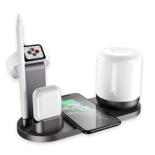 Stojánek / bezdrátová nabíječka Qi 5v1 Apple iPhone + Watch + AirPods + Pencil + LED lampička - černý