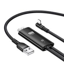 Propojovací kabel Lightning - HDMI USAMS + USB pro Apple iPhone / iPad a další zařízení - 2m - černý