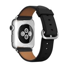 Řemínek pro Apple Watch 44mm Series 4 / 5 / 42mm 1 2 3 - kožený - černý