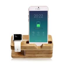 Stojánek VICO pro Apple iPhone + Apple Watch - bambusové dřevo