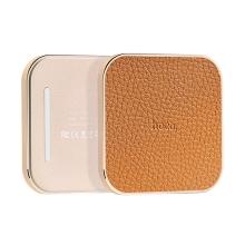 Bezdrátová nabíječka / nabíjecí podložka Qi HOCO - koženkový povrch / kovový rámeček zlatý