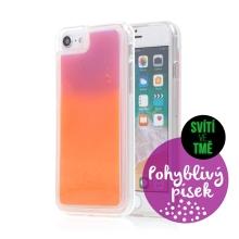 Kryt TACTICAL Glow pro Apple iPhone 6 / 6S / 7 / 8 / SE (2020) - pohyblivý svíticí písek - plastový - oranžový / fialový